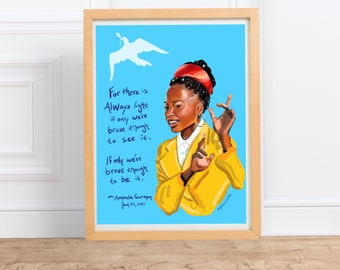 Amanda Gorman Portrait and quote print, inspiring women, poet, artwork, the hill we climb, amanda gorman poem