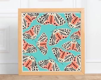 Tiger Moth print,  square print    digital illustration Print, home decor    by Abigail Gray Swartz