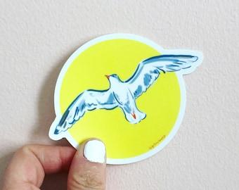 Seagull sticker, labtop decor, bird sticker, illustrated sticker, by Abigail Gray Swartz