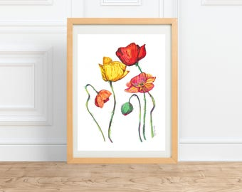 Rainbow Poppies || watercolor Floral Print, LGBTQIA || by Abigail Gray Swartz