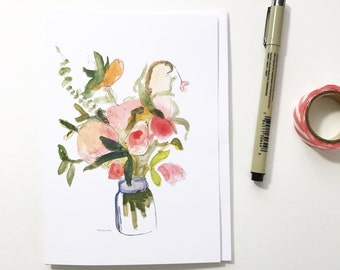 Pink flowers in a jar, 5x7 card, Ready to Ship greeting card