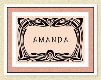 Art Nouveau Personalized Note Cards (10 Folded) So Lovely