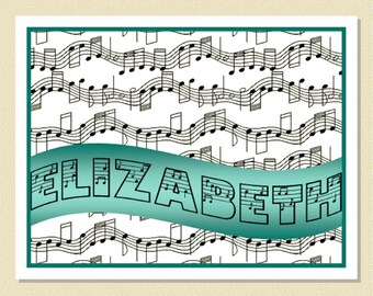 "So Cute - ""Note"" Note Cards For The Music Enthusiast - Personalized (10 Folded)"