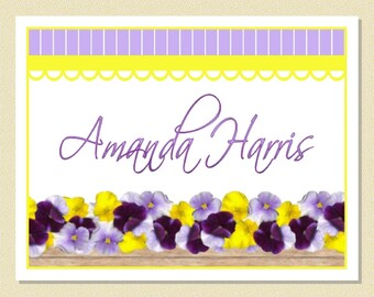 Pretty Pansies - Personalized Note Cards (10 Folded)