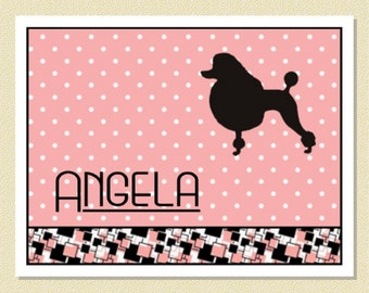 Adorable 1950s Poodle - Personalized Note Cards (10 Folded)