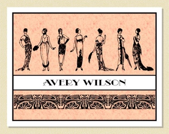 1920s Fashions - Personalized Note Cards (10 Folded)