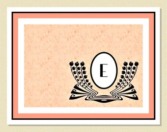 Art Deco Monogram Note Cards In Peach & Black - Personalized (10 Folded)