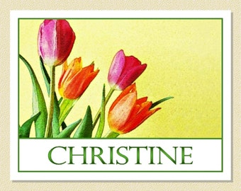 So Cheery - Personalized Note Cards Abloom With Lovely Tulips (10 Folded)