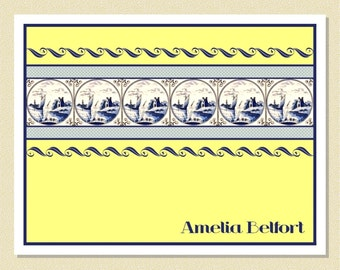 Charming Note Cards With Delft Tiles - Personalized (10 Folded)