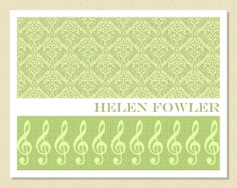 Elegant Damask Note Cards With Music Motif - Personalized (10 Folded)