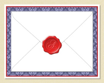 How Cute - Sealing Wax Monogram - Personalized Note Cards (10 Folded)