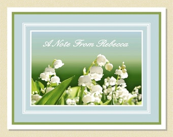 Lovely Lily Of The Valley - Personalized Note Cards (10 Folded)