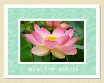 Exquisite Lotus Blossom - Personalized Note Cards (10 Folded)
