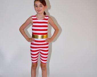 Girls Strongman High Neck Costume for Children with Belt