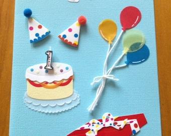 1st Birthday card w/ envelope