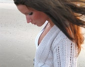 KNITTING PATTERN, knit lace cardigan, knit jumper,knit shrug,women,teens,cropped,open weave,flutter sleeves,short sleeve,lace,gray,silver,