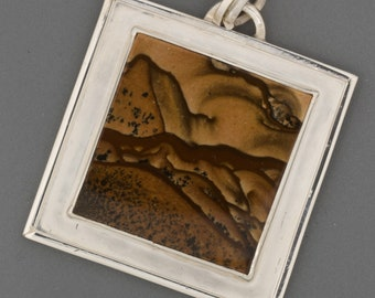 Sterling Silver Pendant with Picture Jasper Stone