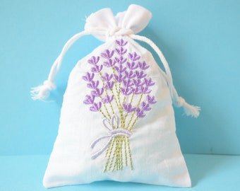 Lavender bag 3 pack | Embroidered cotton bag filled with fragrant dried lavender | Relaxing lavender gift sachet