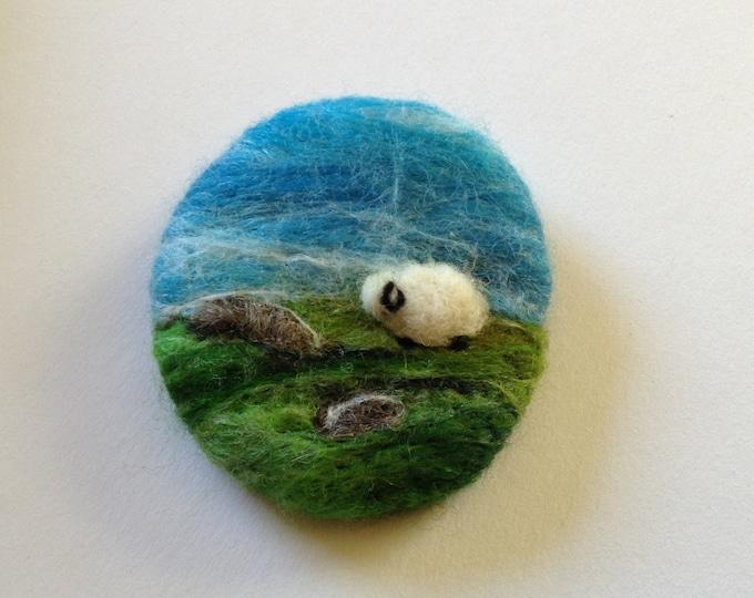 Sheep Brooch Wool Needle Felted
