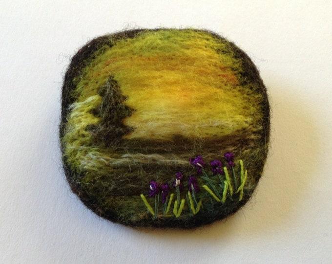 Landscape Brooch Wool Needle Felted