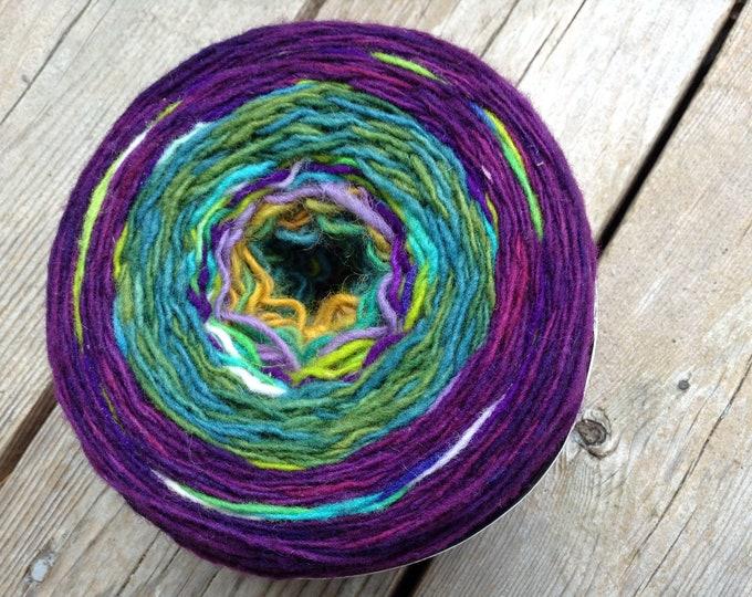 Hand Dyed Yarn Peacock Wool Cake