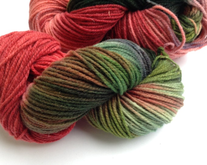 Hand Dyed Yarn Fresh Strawberries Wool 2 Ply