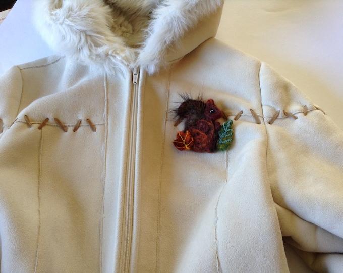Squirrel Brooch Wool Needle Felted