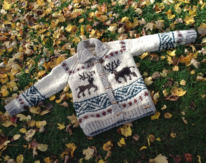 Deer Cowichan Wool Sweater Coat