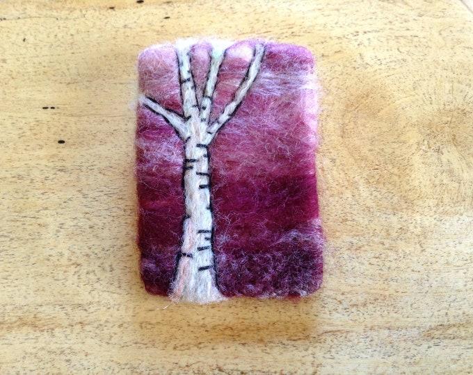 Birch Tree Brooch Wool Needle Felted