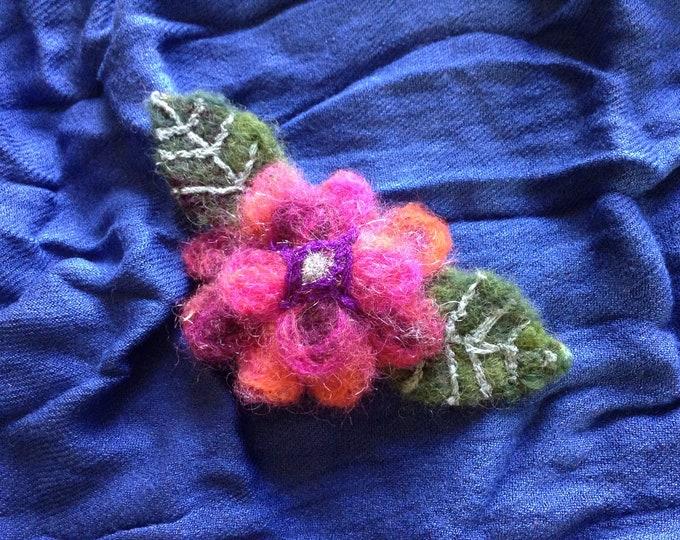 Flower Brooch Wool Needle Felted