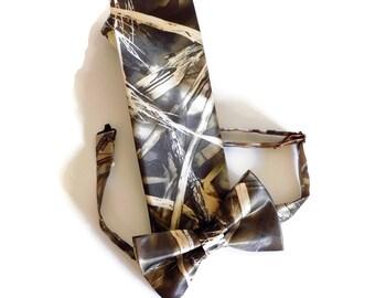 NEW Mossy Oak Camo Tuxedo Blaze Orange Bow Tie FREE HANKIE SHIP Real Pockets