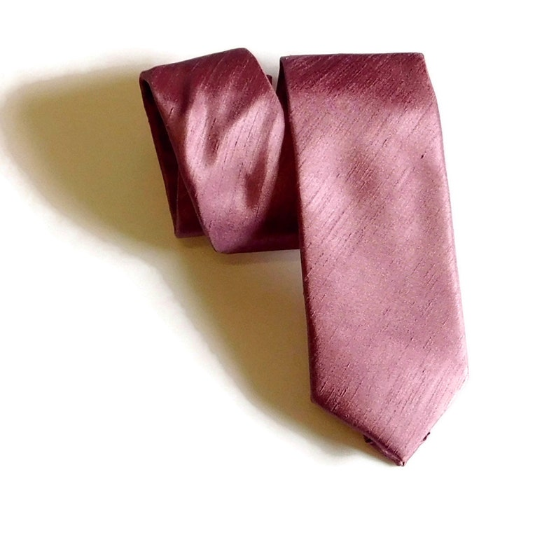 skinny Roseate mauve lilac shantung necktie slim standard pocket square toddler youth and adult. pre-tied bow tie pre-tied necktie