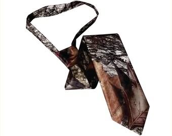 Satin camo skinny necktie Mossy Oak break up camouflage tie