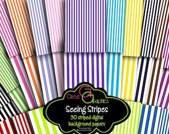 Digital Paper Stripes Pinstripe Paper Digital Paper Striped Invitation Paper Printable Paper - Instant Download