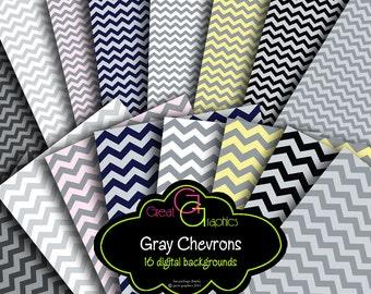 Chevron Print Digital Paper Gray Chevron Paper Gray Chevron Pattern Printable Invitation Paper Digital Background - Instant Download