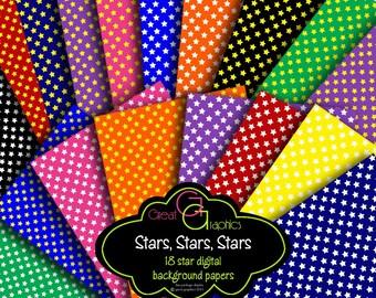 Star Digital Paper Digital Star Party Paper Invitation Printable Paper Star Background Paper - Instant Download