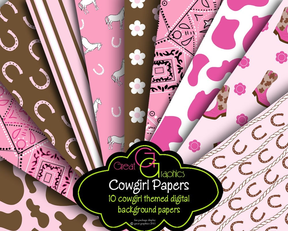 Cowgirl Digital Paper Pink Cowgirl Party Paper Cowgirl | Etsy