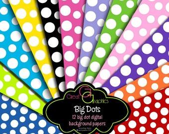 Polka Dot Paper Digital Polka Dot Paper Invitation Paper Printable Polka Dots Digital Paper - Instant Download