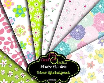 Flower Paper Digital Flower Digital Floral Paper Invitation Paper Flower Printable Pastel Paper Printable - Instant Download