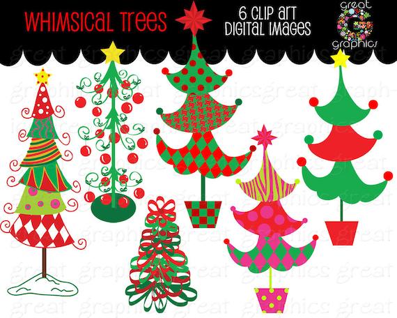 Weihnachtsbaum Clipart Wunderlichen Weihnachten Digital Clip Etsy