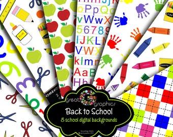 Kids Digital Paper Childrens Handprints Crayon Pattern Alphabet Printable Argyle Digital Paper Instant Download