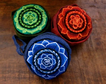 Om Coin Bag/Om Mala Bag/Ohm/Cotton Coin Purse /Lotus Coin Purse/Om Jewelry Bag/Om Gift Bag/Red/Green/Blue/Yogi Jewelry/Yogi Coin Purse