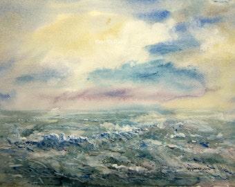 Seascape, archival print, watercolor landscape painting, ocean watercolor, ocean painting, beach, nautical art, ocean decor, watercolor art.