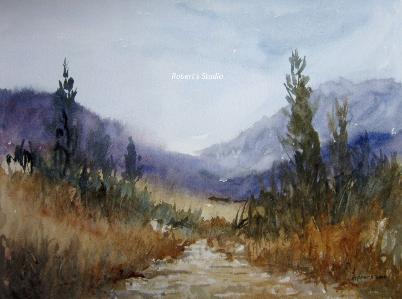 Landscape Painting watercolor landscape archival print | Etsy