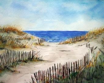 Beach Shore, Print of Original Watercolor Painting, beach art, watercolor art, watercolor print, beach painting,watercolor beach, sand dunes