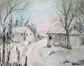 Winter Snow, watercolor print watercolor art winter landscape, winter painting, landscape painting.