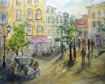 Town Square, archival print, watercolor painting, landscape painting, urban landscape, city painting, city watercolor, cityscape