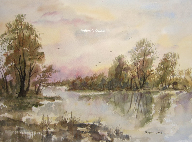 scenic nature painting lake painting Watercolor Landscape Painting Archival Print fall woodland lake landscape. autumn country landscape