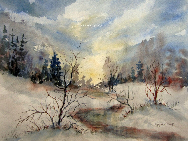 Winter Landscape Archival Print watercolor painting | Etsy