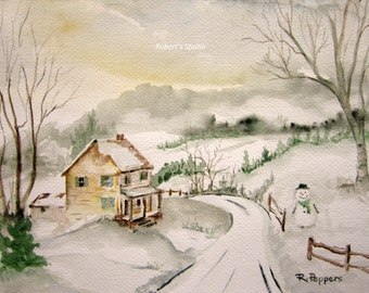 Winter Road watercolor print, landscape winter painting snowfall snowman watercolor art winter road landscape painting, winter scene.